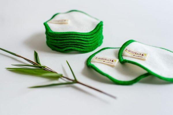Bambus Kosmetikpads, Abschminkpads, auswaschbar, 8cm Durchmesser mit Waschnetz