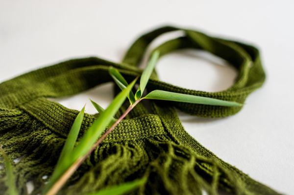Einkaufsnetz, Gemüse-Obst-Netz aus 100% Baumwolle, Olive