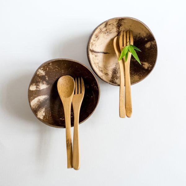 2 Kokosnuss-Bowl mit Bambus-Besteck 6-teiliges Set