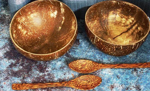 Kokosnussschale mit Kokosholzlöffel 2er Set, 14-15 cm Durchmesser