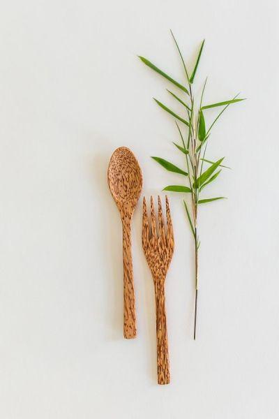 Kokospalmholz Besteck - Löffel + Gabel