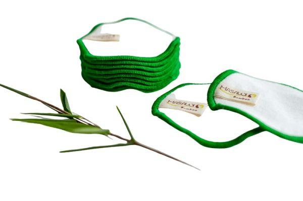 10 Bambus Kosmetikpads, auswaschbar + Waschnetz