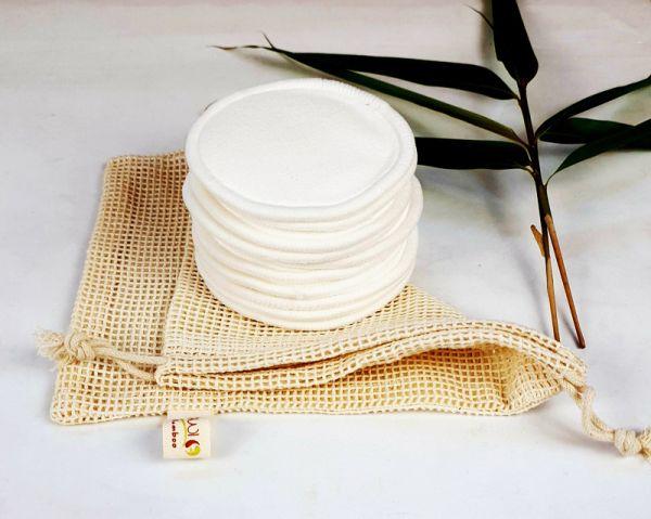 10 Bambus Kosmetikpads mit Waschnetz, Abschminkpads waschbar,