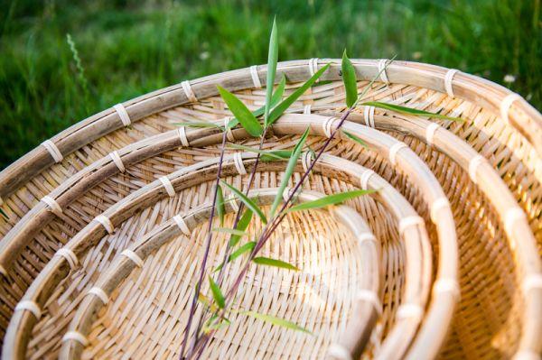 Bambuskörbe, Gartenkörbe, 40cm Handarbeit im Mekong Delta