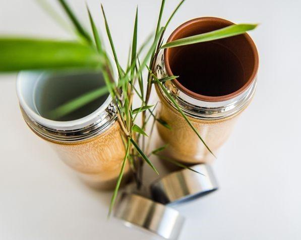 Bambus Thermobecher 250ml mit Keramikeinsatz braun