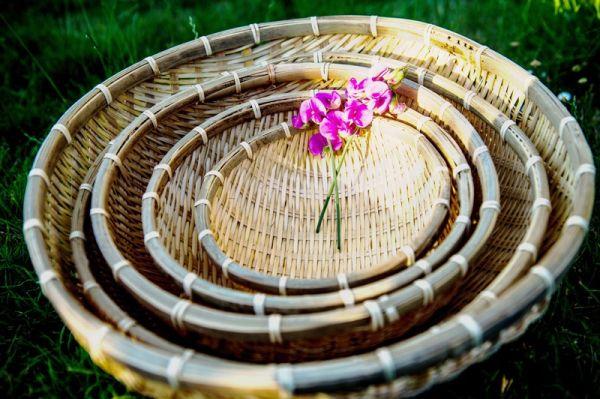 Original vietnamesischer Bambuskorb 5er Set
