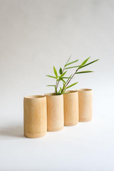 Bambus-Becher massiv ohne Klebstoff ohne Lack