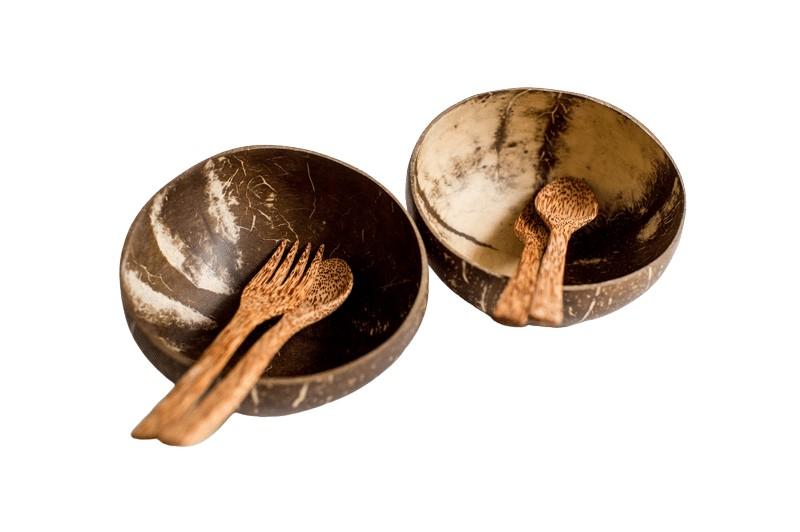 Kokosnussschalen-mit-besteck-freigestellt
