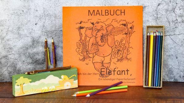 Elefantendung-Papier Malbuch + 12 Buntstifte aus Altpapier in einer Stifte-Box