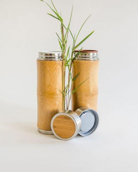 Bambus Thermobecher 250ml mit Keramikeinsatz weiß